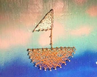 Sail boat string art