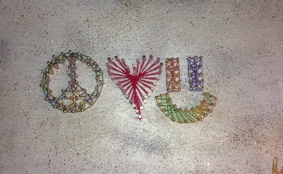 Peace Love And Happiness String Art Glitter Background