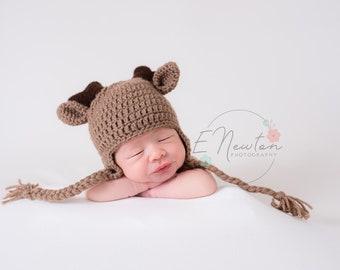587cb38cf56 Deer Hat   Baby Winter Hat   Crochet Deer Hat with Antlers   Infant Photo  Prop   Halloween Costume   Made to Order