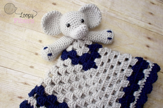 Crochet Elephant Lovey Crochet Security Blanket Baby Boy Etsy Cool Crochet Elephant Lovey Pattern