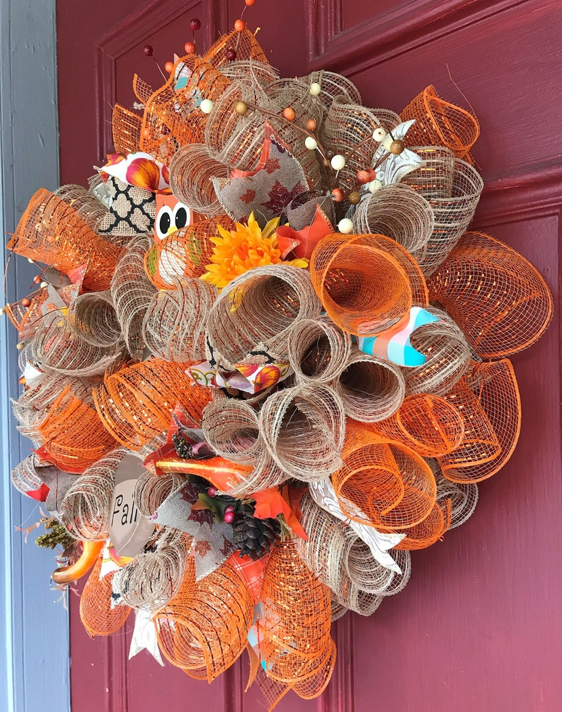 Front Door hanger FREE SHIPPING Fall Decor Happy Fall Deco-mesh wreath; Owl Decor