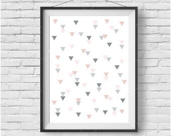 Blush Printable Art, Nursery Decor, Geometric Art, Pastel Colors, Minimalist, Scandinavian Poster, Triangles Art, Modern Print, Downloadable