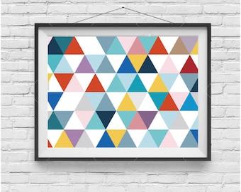 Wall Print, Colorful Triangles Art, Geometric Print, Funky Art, Modern Print, Horizontal Art, Home Decor, Kids Room Art, Scandinavian Print