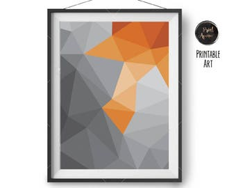 Abstract Print, Polyline Art, Geometric Print, Orange & Grey Print, Modern Wall Decor, Triangles Print, Large Wall Print, Print Avenue Art