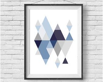 Geometric Art, Scandinavian Print, Abstract Art, Modern Print, Blue Wall Poster, Mountain Art, Modern Decor, Printable Art, Digital Poster