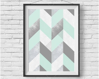 Mint Print, Mint Poster, Mint Wall Art, Chevron Print, Geometric Print, Chevron Poster, Mint and grey Print, Downloadable Print, Home Decor