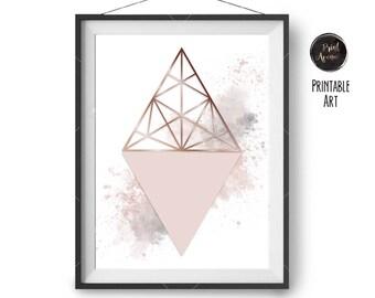 Blush Copper Grey Print, Modern Geometric Art, Watercolor Print, Scandinavian Wall Decor, Minimal Print, Pink Printable Art, Print Avenue