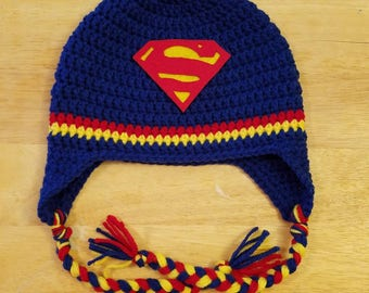 8aecc63e1ae Crochet Superman or Supergirl Hat Beanie  any size