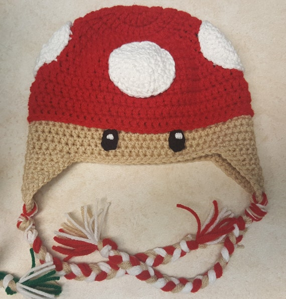 Crochet Super Mario Power Up Mushroom Hat Any Size Etsy