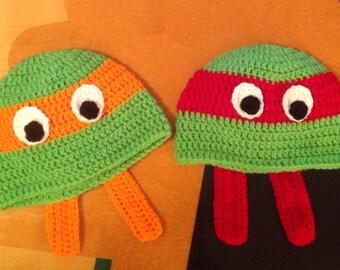 Crochet Ninja Turtles Hat/ Any Size