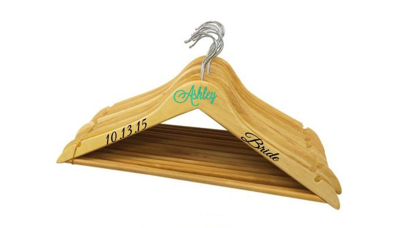 Choice of Font /& Color 5 Personalized Notched Wooden Wedding HangersBridesmaid Hangers
