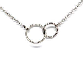 Interlocking Rings Pendant, Love Knot Pendant, Interlocking Circles, Chainmaille Jewelry, Stainless Steel Necklace
