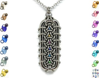 Grimalkin Pendant, Chainmaille Jewelry, Stainless Steel with Captured Spheres Pendant, Bold Statement Necklace