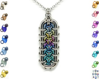 Grimalkin Pendant, Chainmaille Jewelry, Anodized Titanium and Stainless Steel Pendant, Bold Statement Necklace