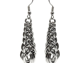 Graduated FP6-1 Chainmaille Earrings, Graduated Chain Earrings, Statement Earrings, Stainless Steel