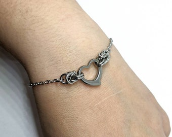 Byzantine Heart Bracelet, Minimalist Stainless Steel Day Collar, Silver Heart Pendant Anklet Chain, Chainmaille Jewelry