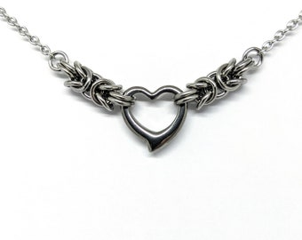 Byzantine Heart Choker, Minimalist Stainless Steel Day Collar, Silver Heart Pendant Necklace Chain, Chainmaille Jewelry