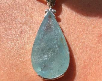 Blue Aquamarine Pendant,Faceted Aquamarine Sterling Silver,Fine Aquamarine,Quality Natural Aquamarine,Aquamarine March Pendant, Teardrop