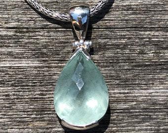 Aquamarine Gemstone Pendant, Aquamarine Sterling, Rose Cut Pendant, Aquamarine Pear,Blue Aqua Pendant,Aquamarine Stone, Aquamarine Pendant