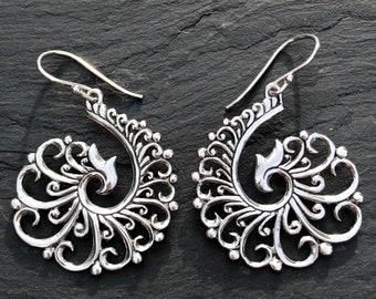 Large Ornate Spiral Earring Sterling Silver Filigree,Spiral Dangle Style,Phoenix Rising Tribal Ethnic Earring,Handmade Design Earring Trend