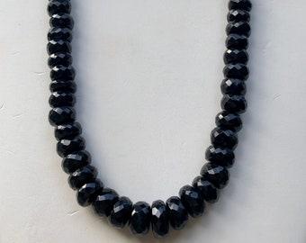 Black Tourmaline Necklace,Large Faceted Tourmaline Gemstone Bead Necklace 8mm 12mm,Black Gemstone Bead Rondelle Shape,Big Tourmaline Natural