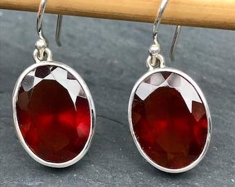 Facet Garnet Earring Sterling Silver,Blood Red Garnet Large Natural Garnet Hessonite Oval,Orange Red Garnet Top Quality Jewelry Red Gemstone