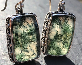 Moss Agate Earrings Long Rectangle Shape,Green Moss Agate Earrings Spiral Detail in Sterling Silver,Agate Stone with Moss Inclusion Natural