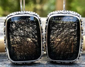 Rutilated Quartz Earring,Black Rutile Quartz Long Rectangle Gemstone Earring Faceted,High Quality Rare Quartz Black,Granulation Earring