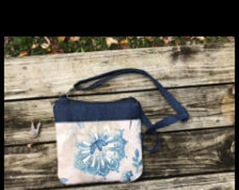 Crossbody bag, cross body bag, denim  crossbody bag, tan and blue crossbody bag.