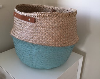 Seagrass Belly Basket Natural Blue Green Turquoise Dipped Panier Boule Large Medium Leather Handle