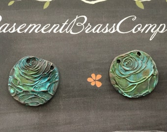 Artisan verdigris  polished bronze paisley embossed pendants 2 pc