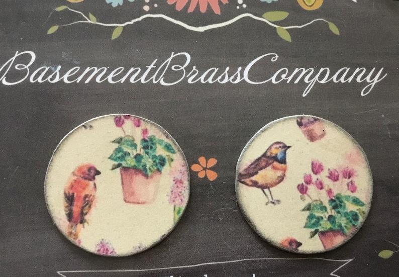 aged brass Decoupage watercolor birds in a gard metal disc pendants 2pc 45mm double sided
