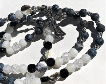 Black Agate and Crystal Quartz Men's Rosary