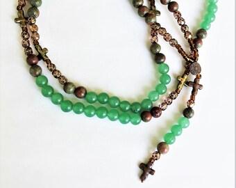 Green Agate Stone Men's Rosary