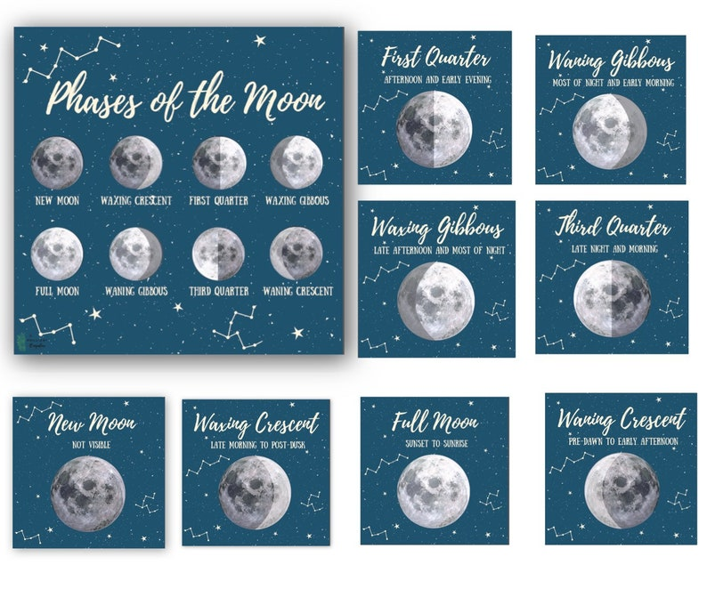 image relating to Moon Phases Printable known as Moon Action Playing cards Printable Moon Step Playing cards Harvest Moon 3 Element Montessori Playing cards Character Examine Outer Area Lunar Cycle