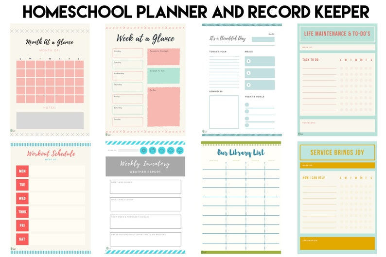 picture about Printable Homeschool Planner named Printable Trainer Homeschool Planner and Heritage Preserving Each day, Weekly, Regular Planner Ebook Log, Library Record, Supper Planner, Attendance