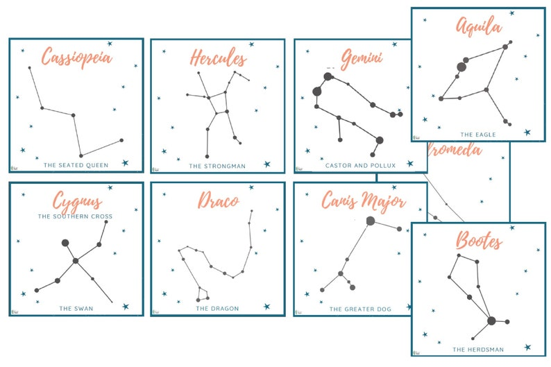 photograph relating to Printable Constellations identified as Constellation Playing cards Fastened of 26 Printable Constellation Playing cards Harvest Moon Astronomy Playing cards Mother nature Examine Outer Area Astronomy