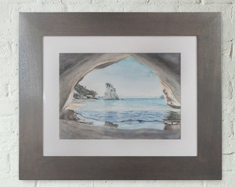 Cathedral Cove Original Watercolour *LOCAL PICKUP ONLY*
