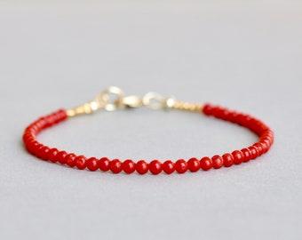 Italian Coral Bracelet Natural Coral Bracelet Bead Bracelet Stacking Bracelet Gift for Her