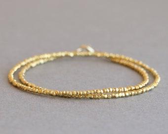 Gold Bracelet Gold Wrap Bracelet Minimalist Bracelet Delicate Bracelet Hill Tribe Gold Vermeil Style Beaded Bracelet Gift for Her