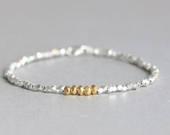Silver Bracelet Hill Tribe Silver and Gold Vermeil Bracelet Mixed Metal Silver and Gold Bracelet Stacking Bracelet
