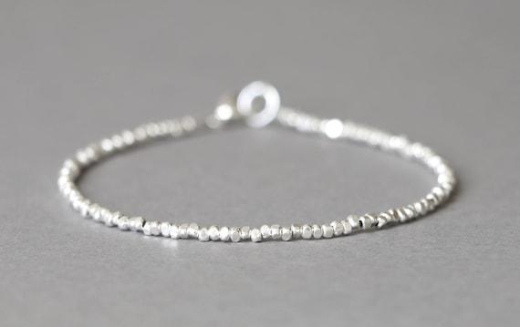 Silver Bracelet Simple Silver Bracelet Stacking Bracelet Etsy