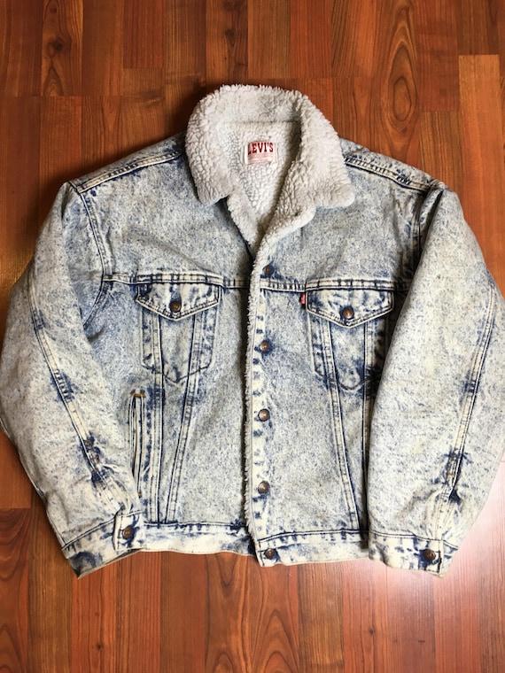 2bc4cdf3 Vintage levis sherpa jacket acid wash denim jacket coat jean | Etsy