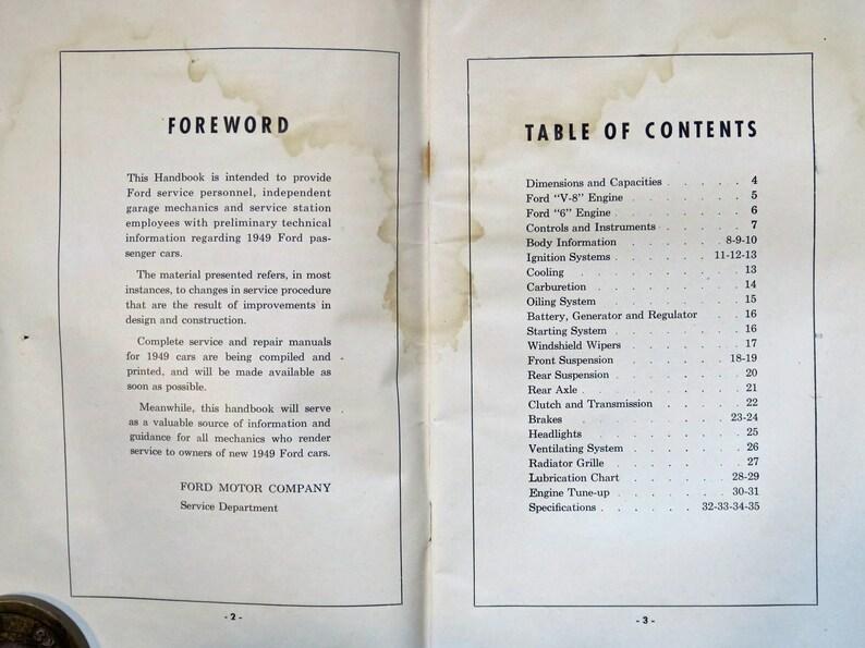 Mechanic's Handbook 1949 Ford passenger Cars, V8 & V6