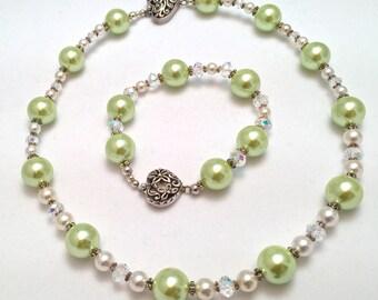 Plus Size Necklace and Bracelet Set ~ Freshwater Pearl ~ Swarovski Crystal ~ Swarovski Pearl ~ Sterling Silver ~ Jewelry Gift Set
