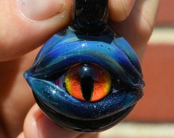 Boro simple uv reactive eyeball pendant