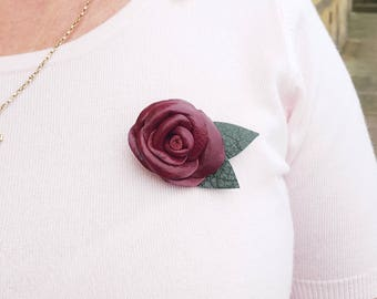 Leather rose brooch, leather brooch, rose brooch, leather pin, Valentines gifts, Valentines gift ideas, gift for her, Anniversary gift ideas