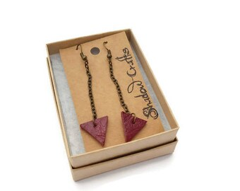 Long leather triangle drop earrings, geometric leather earrings, long leather earrings, tringle jewellery, deep red leather earrings, eco