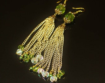 Vintage Earrings Pierced Wires Olive Green Faceted Bead with Gold Tone Caps and Long Gold Tone Chains and Aurora Borealis and Green Beads