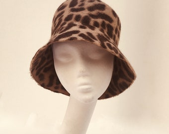 Gorgeous Soft Animal Print Premium Quality Felt Hat. Bucket Hat a45a048e0747